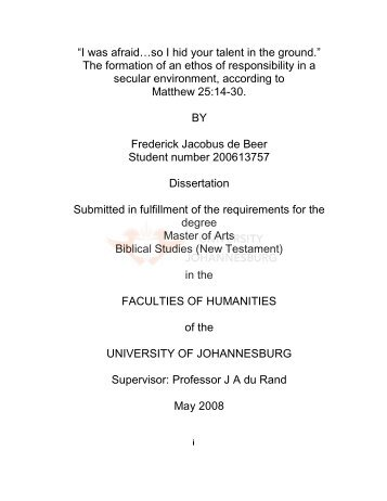 Table of Contents. - UJDigispace Home - University of Johannesburg