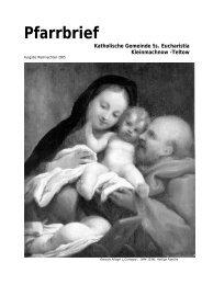 Pfarrbrief Katholische Gemeinde Ss. Eucharistia Kleinmachnow