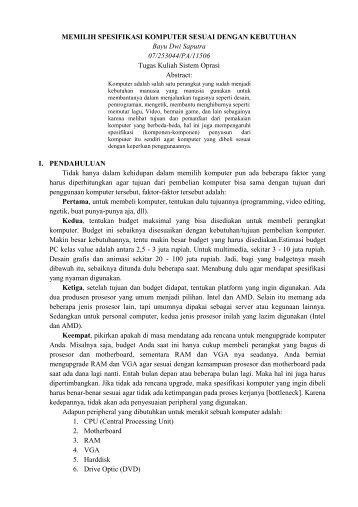 MEMILIH SPESIFIKASI KOMPUTER SESUAI ... - Kontak UGM