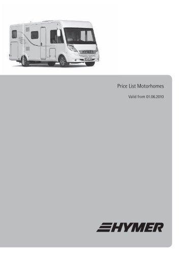 Price List Motorhomes