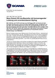 Neue Scania V8 Lkw-Baureihe mit herausragender Leistung und ...