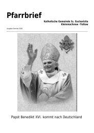 Pfarrbrief Sommer 2005 - Katholische Pfarrgemeinde Sanctissima ...