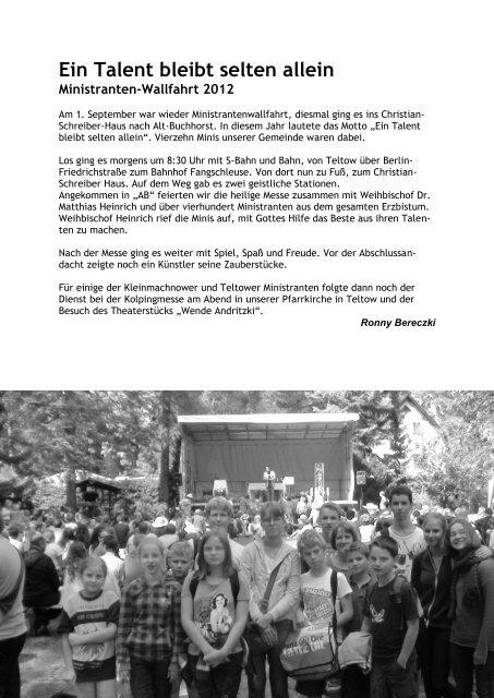 Pfarrbrief Herbst 2012 - Katholische Pfarrgemeinde Sanctissima ...