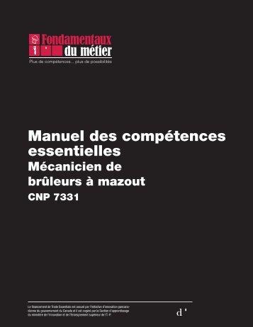 Manuel des compétences essentielles : Mécanicien de brûleurs à ...