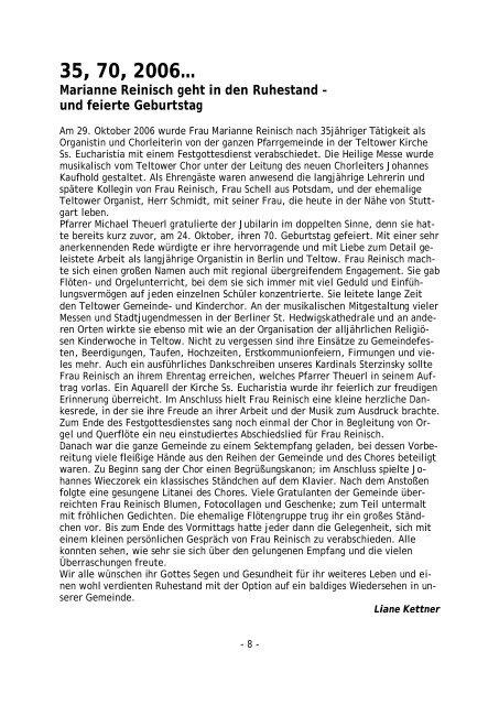 Pfarrbrief - Katholische Pfarrgemeinde Sanctissima Eucharistia