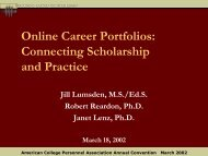 Online Career Portfolios: Connecting Scholarship and Practice