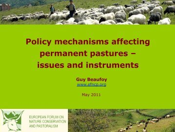 Policy mechanisms affecting permanent pastures and ... - EFNCP