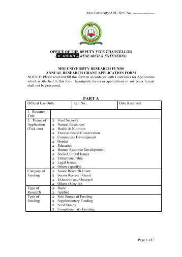 MOI UNIVERSITY Pssp Application Forms