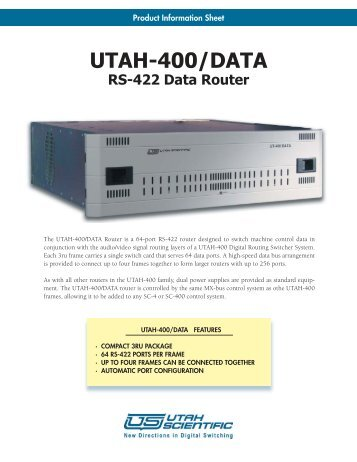 UTAH-400-DATA Brochure.indd - Utah Scientific