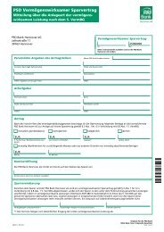 Antrag PSD VL Sparen - PSD Bank Hannover eG