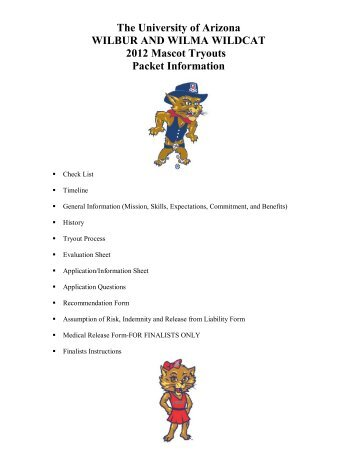 the university of arizona 2012 mascot tryouts checklist - Community