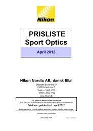 PRISLISTE Sport Optics April 2012 Nikon Nordic AB, dansk filial
