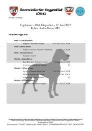 Ergebnisse IHA Klagenfurt - Österreichischer Doggenklub