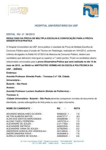 HOSPITAL UNIVERSITÁRIO DA USP EDITAL HU nº 58/2012
