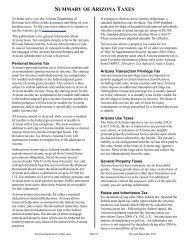 SUMMARY OF ARIZONA TAXES - Arizona Department of Revenue