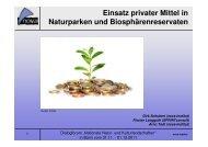 Einsatz privater Mittel in Naturparken und Biosphärenreservaten