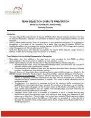 Athlete Forum 2007 Workshop Summary - sdrcc / crdsc