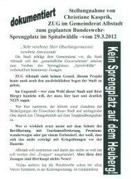 Stellungnahme von Christiane Kasprik - Alternative Kommunalpolitik