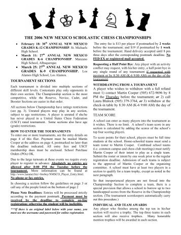 the 2006 new mexico scholastic chess championships - Nmsco.org
