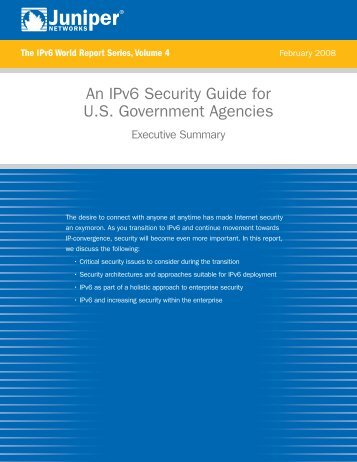 An IPv6 Security Guide For U.S. Government ... - Juniper Networks