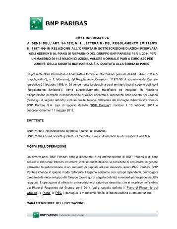 nota informativa ai sensi dell'art. 34-ter, n. 1, lettera m ... - BNP Paribas