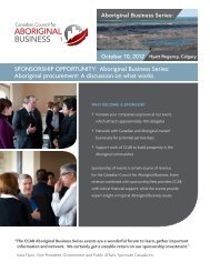 SponSorShip opporTuniTy - Canadian Council for Aboriginal Business