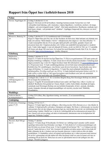 Rapport från Öppet hus i kollektivhusen 2010 - Kollektivhus NU