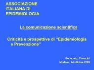Criticità e prospettive di - Associazione Italiana Epidemiologia