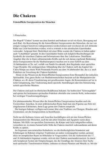 Chakra-Artikel für das Deutsche Fun Forum in - Chakratherapie