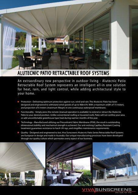 alutecnic patio retractable roof systems - Viva Sunscreens