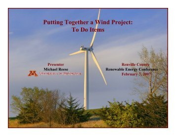 Putting Together a Wind Project - Clean Energy Resource Teams
