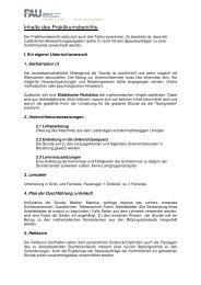 Inhalte des Praktikumsberichts - Didaktik der Mathematik