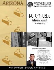 Notary Public Reference Manual - Arizona Secretary of State