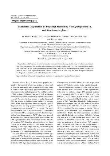 Symbiotic Degradation of Polyvinyl Alcohol by Novosphingobium sp ...