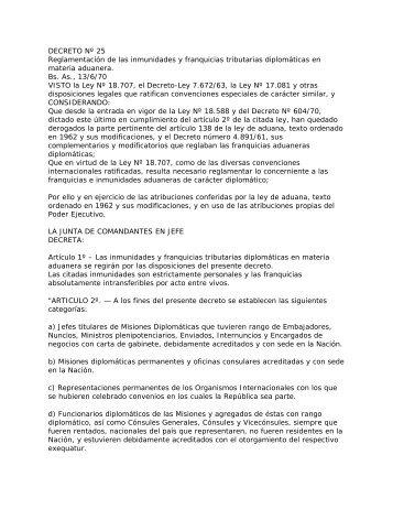 DECRETO Nº 25 - Ministerio de Relaciones Exteriores y Culto