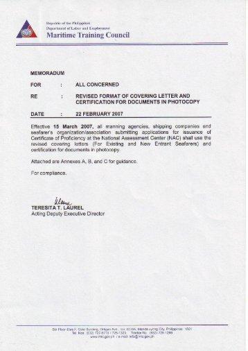 certification format
