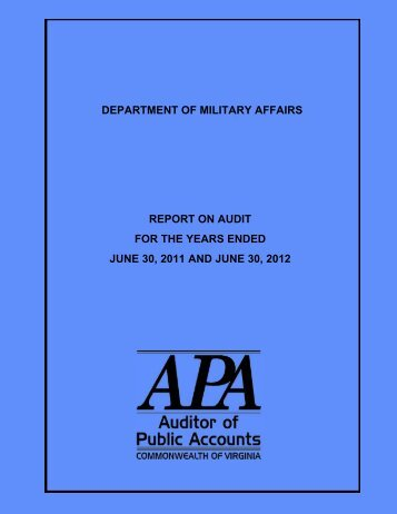 Department of Military Affairs for the years ended June 30, 2011 and ...