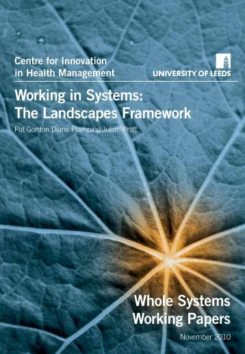 Working in Systems - Centre for Innovation in Health Management