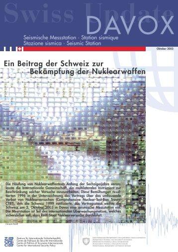 Ein Beitrag der Schweiz zur Bekämpfung der Nuklearwaffen