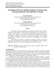 Evaluating of Services Quality of Islamic Azad ... - EuroJournals