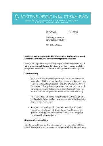 Remissvar över delbetänkandet Rätt information (SOU 2013 ... - SMER