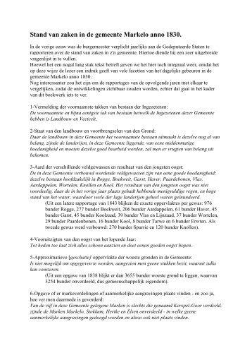 Stand van zaken gemeente Markelo per 1831 - De Hofmarken