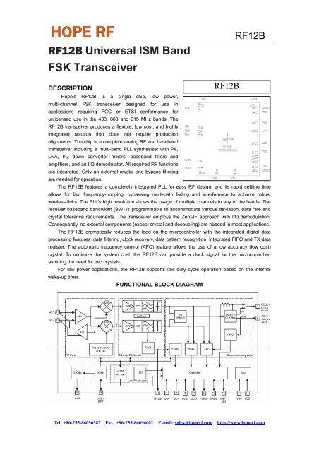 RF12 Universal ISM Band FSK Transceiver