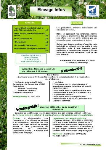 Elevage des veaux laitiers chambre d agriculture de la for Chambre agriculture indre