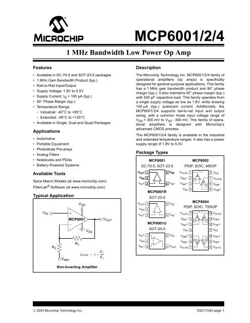 Low-Power Op Amp Pack of 6 Pcs MCP6002-I//P DIP-8 1 MHz Gain Bandwidth Product