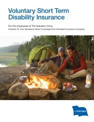 Voluntary Short Term Disability Insurance Features - The Standard