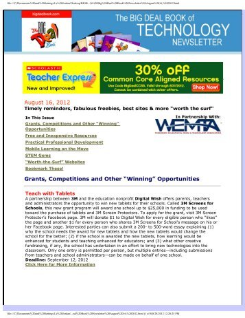 "August 16, 2012 Grants, Competitions and Other ""Winning ... - WEMTA"