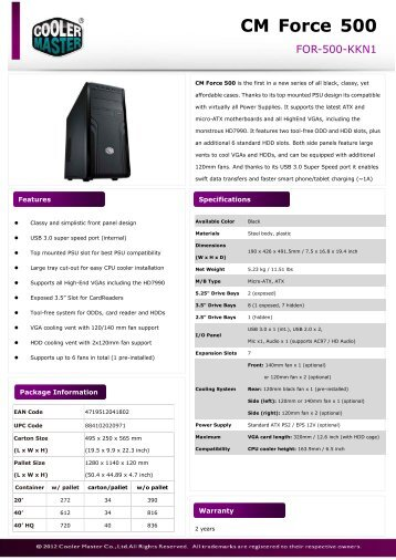Product Sheet - CM Force 500_0205.pdf - Cooler Master