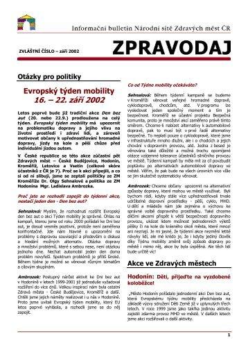 16. – 22. září 2002 - Národní síť Zdravých měst ČR