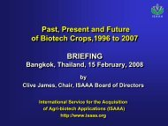 Past, Present and Future of Biotech Crops,1996 to 2007 BRIEFING ...